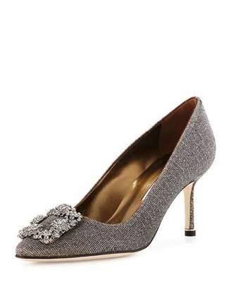 Manolo Blahnik Hangisi Glitter Fabric 70mm Pump, Bronze $985 thestylecure.com
