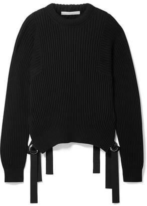 Helmut Lang Grosgrain-trimmed Ribbed Cotton Sweater