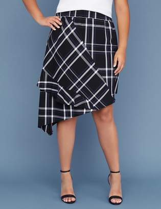 Lane Bryant Fast Lane Asymmetrical Plaid Skirt