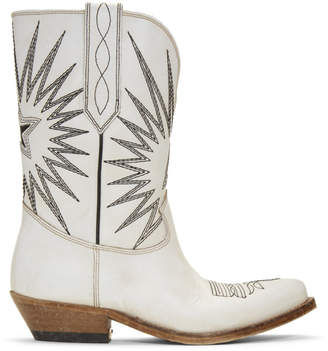 Golden Goose White Wish Star Boots