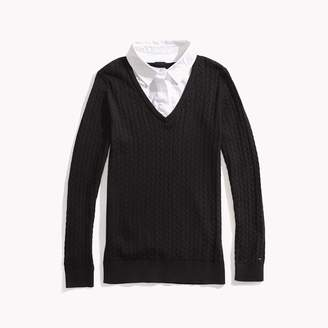 Tommy Hilfiger Woven Collar Sweater