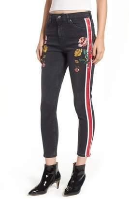 Topshop Stripe Floral Denim Pants