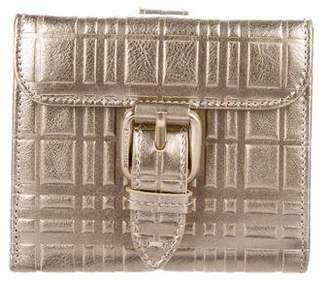 Burberry Metallic Textured Leather Compact Wallet