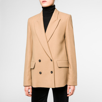Women's Camel Wool-Blend Double-Breasted Blazer $650 thestylecure.com