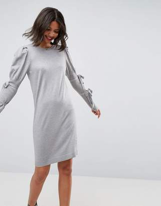 Asos Knitted Dress With Puff Shoulder