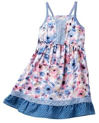 Pink Vanilla Allover Floral Tiers Tank Dress (Little Girls & Big Girls)