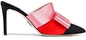 Paul Andrew Klee Bow-embellished Color-block Satin Mules