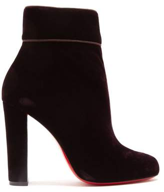 Christian Louboutin Moulamax 120 Velvet Boots - Womens - Dark Purple
