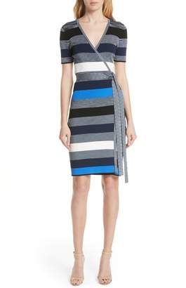Diane von Furstenberg Stripe Knit Wrap Dress