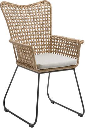 BEIGE Linea Furniture Stanley Faux Wicker Armchair