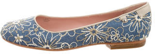 Taryn Rose Embroidered Round-Toe Flats $95 thestylecure.com