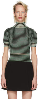 Fendi Green Striped Crop Turtleneck