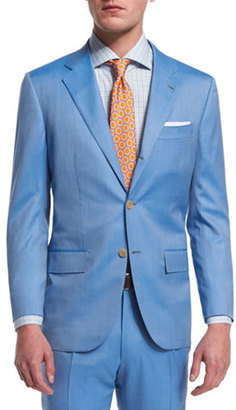 Kiton Two-Piece Herringbone 170s Wool Suit, Light Blue $7,495 thestylecure.com