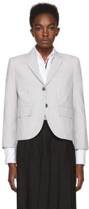 Thom Browne Grey Seersucker Classic Blazer
