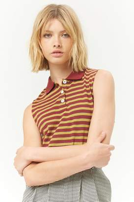 Forever 21 Striped Polo Crop Top