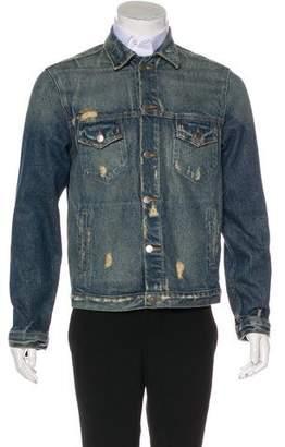 424 on Fairfax 2016 Distressed Zip-Accented Denim Jacket