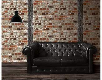 Vision Wallcoverings Painted Brick Wallpaper, Red