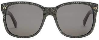 Gucci Square-frame rhinestone sunglasses
