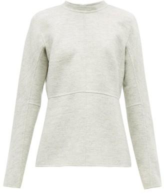 Jil Sander Fluted Hem Felted Wool Top - Womens - Light Grey