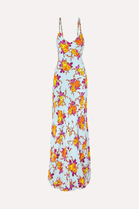 Rebecca De Ravenel Braided Floral-print Silk-twill Maxi Dress - Orange