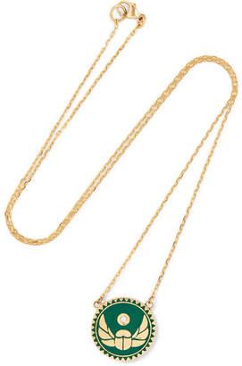 Foundrae - Protection 18-karat Gold, Diamond And Enamel Necklace