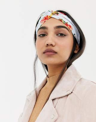 Asos Design DESIGN twist front headband in red floral print