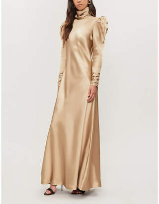 Zimmermann Valiant draped high-neck satin-twill dress