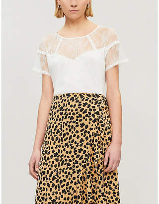 Sandro Ladies Ecru White Lace-Panel Cotton Top