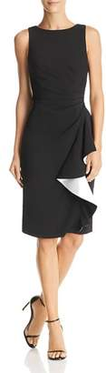 Carmen Marc Valvo Ruffled Crepe Dress