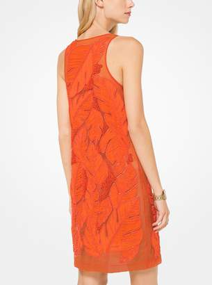 MICHAEL Michael Kors Palm Leaf Applique Georgette Dress