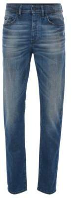 BOSS Hugo Tapered-fit jeans in mid-blue coated stretch denim 33/32 Blue