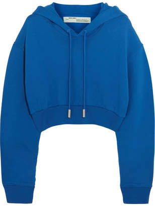Off-White Cropped Cotton-jersey Sweatshirt - Azure