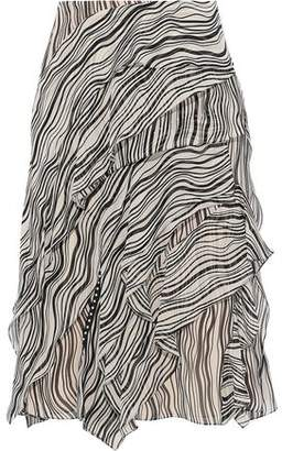 Chloé Layered Printed Silk-georgette Skirt