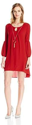 NY Collection Women's Petite Size Solid Long Sleeve Key Hole Hi Low Hem Dress with Necklace,PM