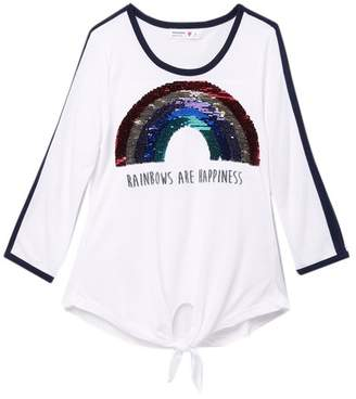Beautees Reversible Sequin Rainbow Tie Front Top (Big Girls)