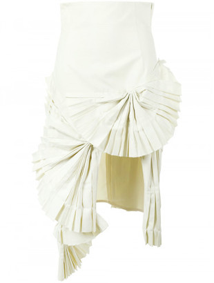 pleated fan asymmetric skirt