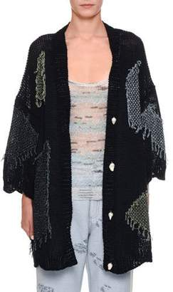 Missoni 1/2-Sleeve Patch Kimono Cardigan