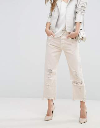 J Brand Ivy High Rise Crop Straight Jean with Raw Hem