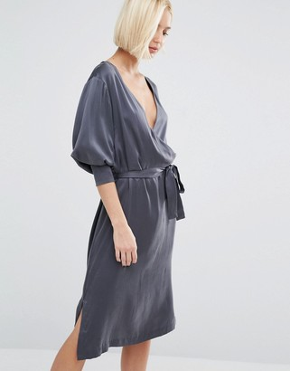 Selected Alba Long Sleeve Silk Wrap Dress $256 thestylecure.com
