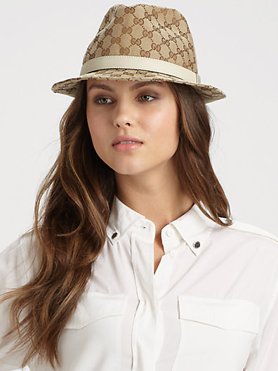 Gucci Trilby Leather-Trimmed GG Patterned Hat