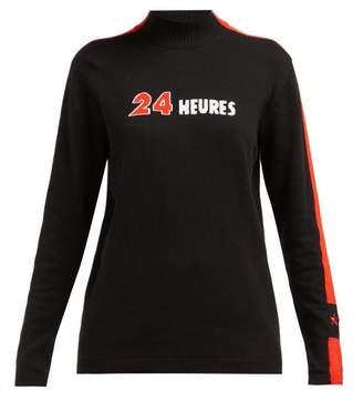 Bella Freud 24 Heures Intarsia Cotton Blend Sweater - Womens - Black Multi