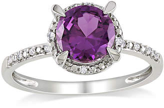 JCPenney FINE JEWELRY Lab-Created Alexandrite and Diamond-Accent 10K White Gold Ring