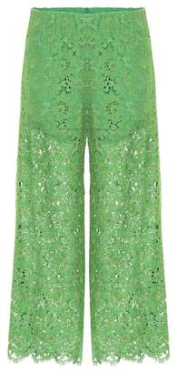 Gucci Lace wide-leg cropped trousers