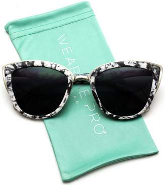 2a10a6fb01 Cat Eye WearMe Pro Womens Mirrored Revo Reflective Lenses Oversized Cateyes  Sunglasses (Marble White Frame