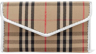 Burberry Leather-trimmed Checked Drill Cardholder - Beige