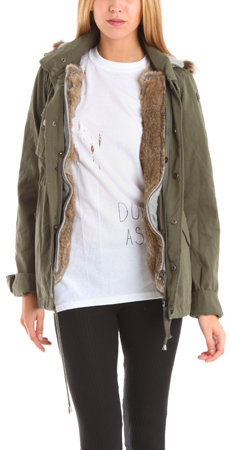 LaROK Classic Parka Short with Fur Lining in Olive