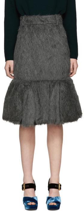 Prada Grey Alpaca Suri Pencil Skirt