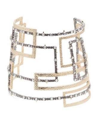 Alexis Bittar Brutalist Crystal Encrusted Wide Cuff Bracelet