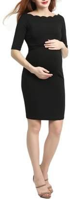 Kimi and Kai Kendall Scallop Trim Body-Con Maternity Dress
