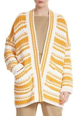 Maje Milio Striped Cardigan